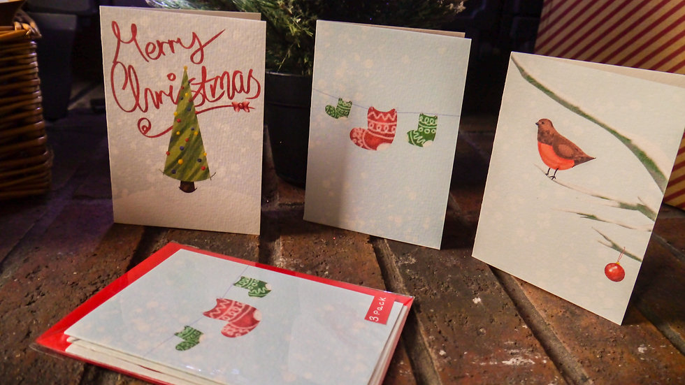 Christmas Cards Pack of 3