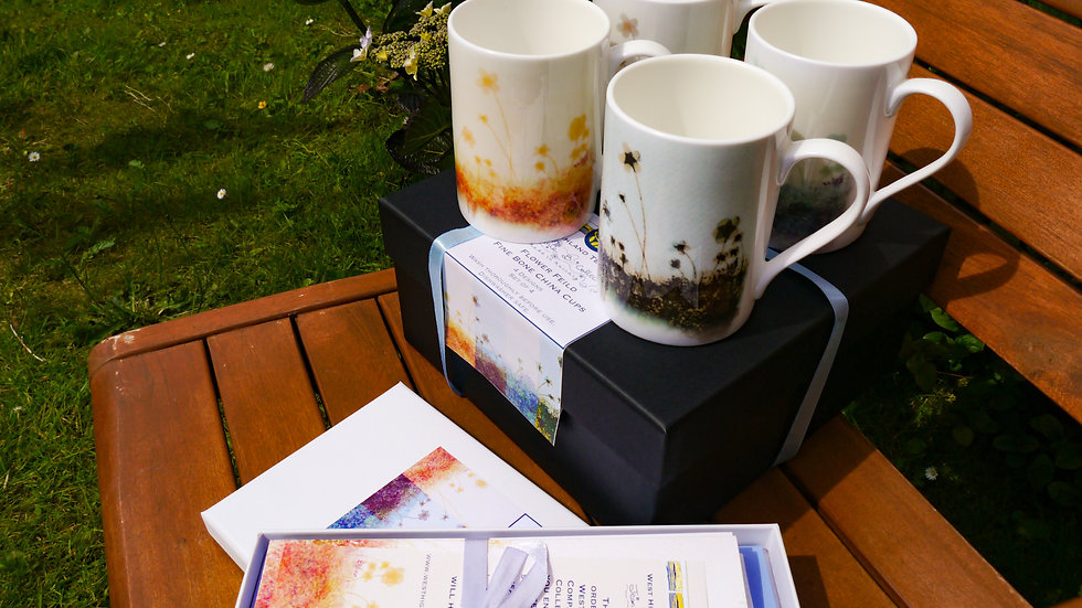 Flower Field Combined Cards & Cups Gift Set