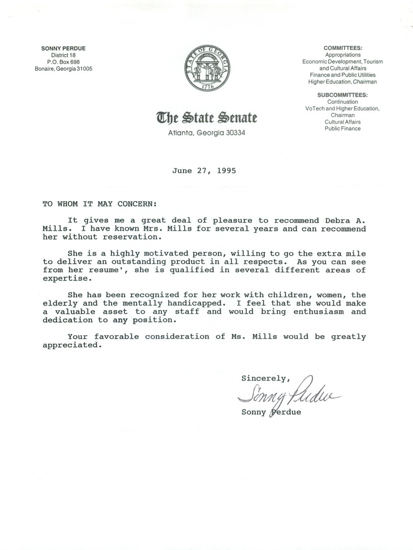 Sonny Perdue Letter of Recommendation