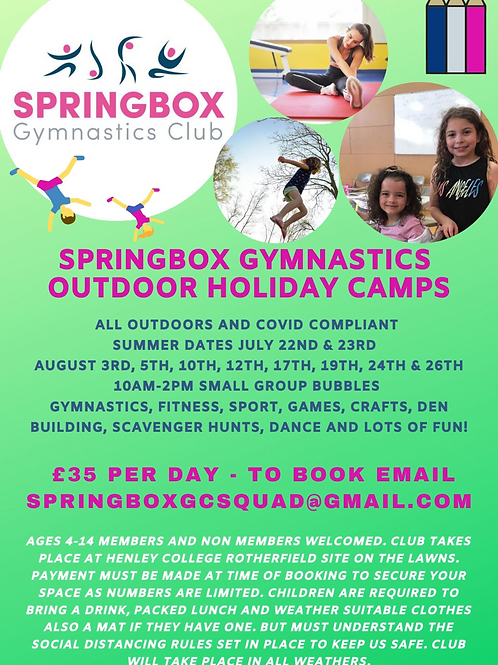 Summer 2020 outdoor holiday camps x1 day