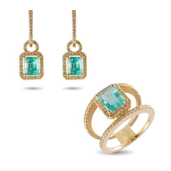 EMERALD AND FANCY YELLOW DIAMOND RING & EARRINGS