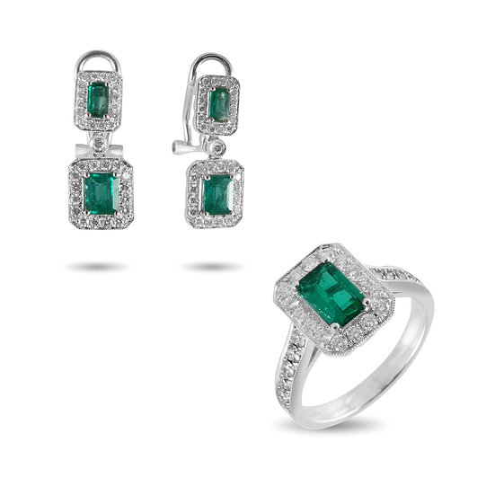 COLOMBIAN EMERALD AND DIAMOND RING & EARRINGS