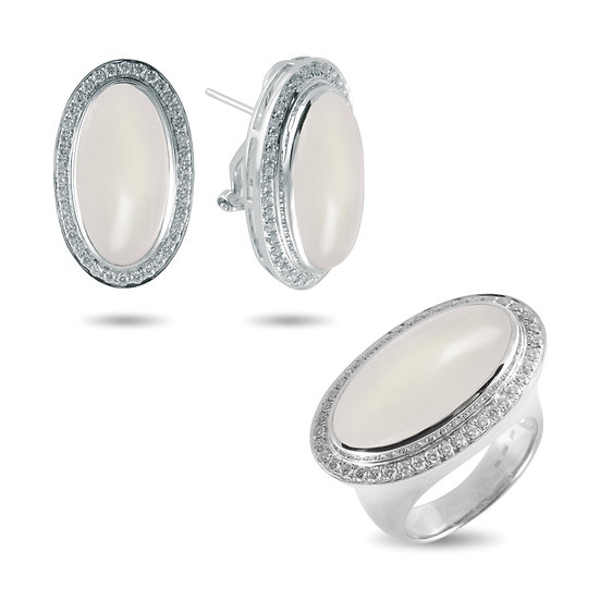 RAINBOW MOONSTONE AND DIAMOND RING & EARRINGS