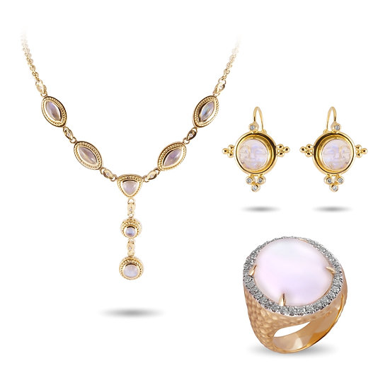 RAINBOW MOONSTONE NECKLACE, EARRINGS & RING