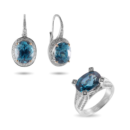 BLUE ZIRCON AND DIAMOND RING & EARRINGS 18 KARAT WHITE GOLD