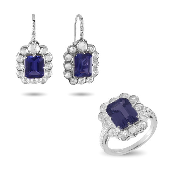 TANZANITE AND ROSE CUT DIAMONDS