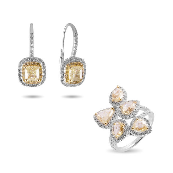 NATURAL YELLOW DIAMONDS RING & EARRINGS 18 KARAT WHITE GOLD