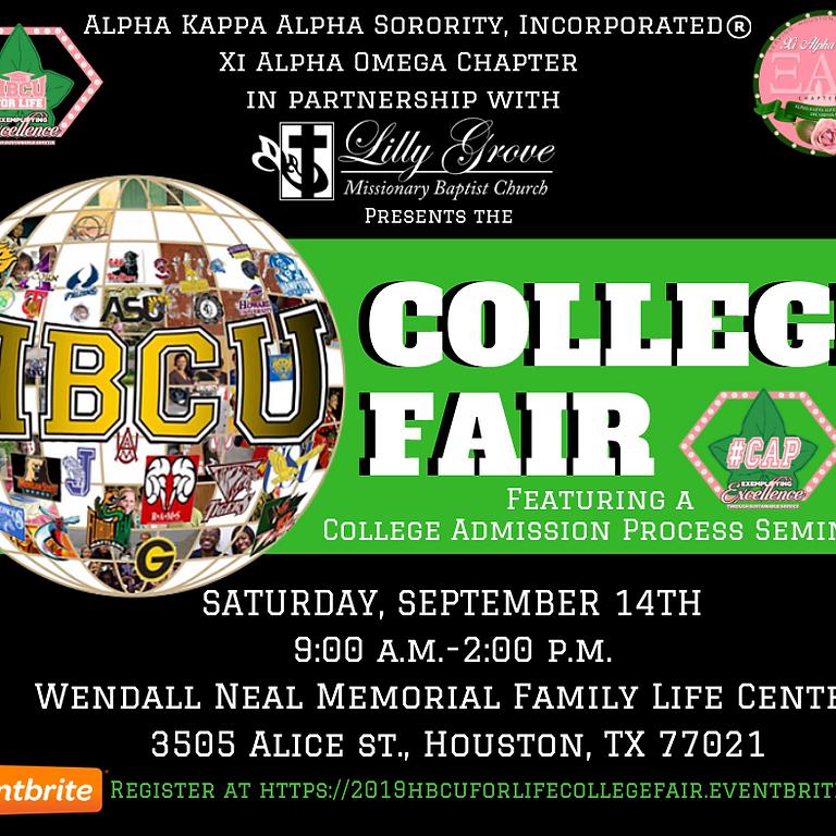 HBCU College Fair featuring a College Admissions Process #CAP Seminar