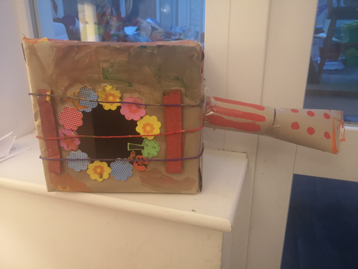 A lovely musical instrument made by a pupil in Foundation, as part of challenge of the week.