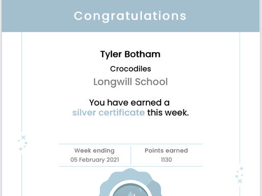 Well done to this pupil for achieving a 'Silver' certificate on Mathletics , this week.