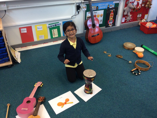 Year 1 Dolphins have been experimenting with different ways of playing musical instruments.