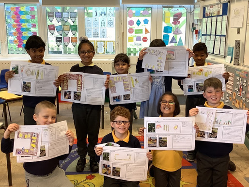 Year 3 Meerkats with their gardening projects and working hard to clean our garden area..