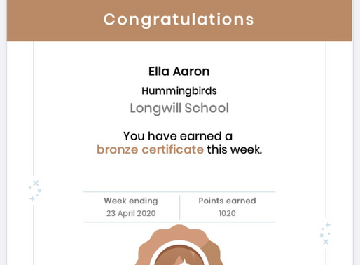 This weeks Mathletics 'Bronze' certificates. What a great achievement.