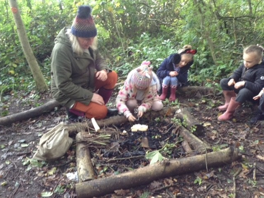 Year 1 (Dolphins) and Year 2 (Badgers) learned how to light the fire safely in forest school.