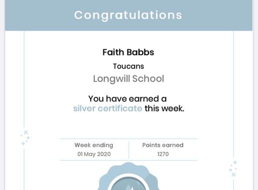 Roll of Honour Silver Mathletics Certificates. What great achievements!