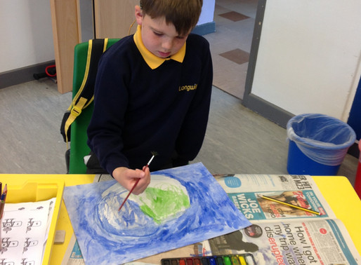 Bubble 5 have been painting some lovely nature pictures.