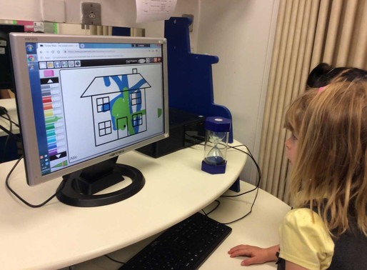The children in Reception (Lily Class) enjoyed using Purple Mash on the computer to create a house.