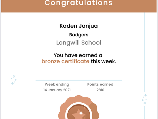 These children have achieved 'Bronze' certificates for Mathletics this week. Well done!