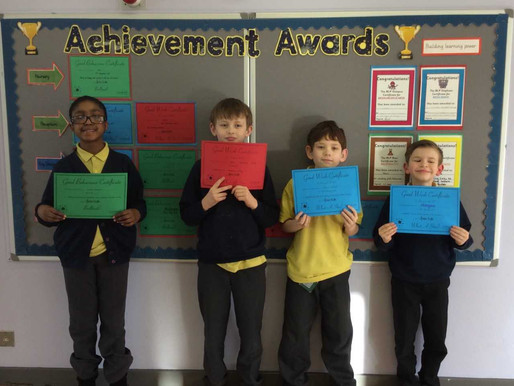 We recognised the achievement and hard work shown by these pupils in our recent celebration assembly