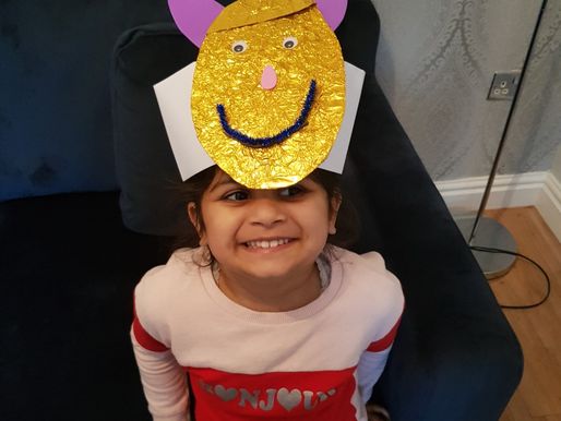 A beautiful 'chick' bonnet made by a pupil in Foundation.