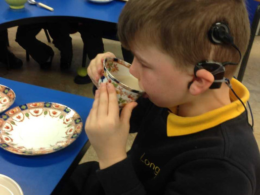 "This morning in our English lesson we had a tea party! We have been learning the story of ""Miss"