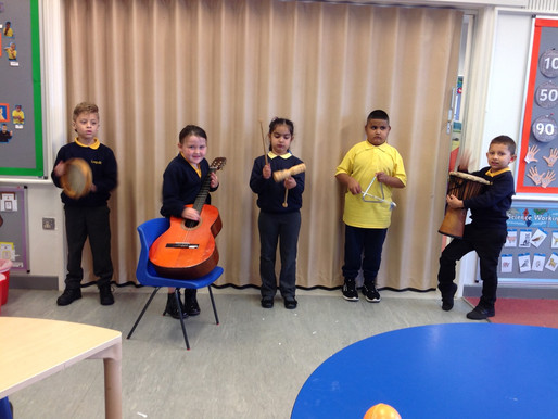 Y2 (Badgers) have enjoyed investigating different musical instruments