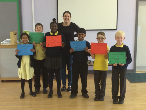 Keystage Two pupils were pleased to receive their certificates for outstanding behaviour, achievemen
