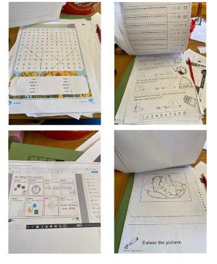 A pupil in Year 6 has been very busy doing some English and Maths work. Well done !