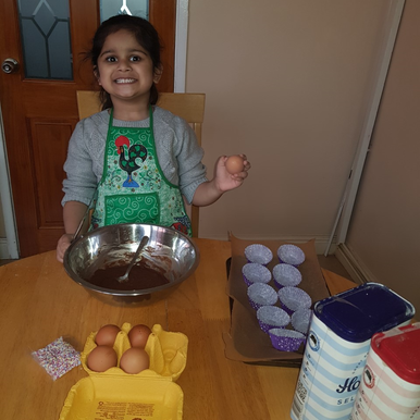 A pupil in Swan class has been very busy baking some cupcakes...