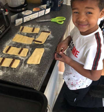 A nursery pupil has been completing the cooking challenge at home