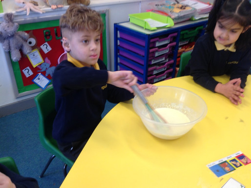 Year One (Hummingbirds) measured the ingredients and prepared the batter for their pancakes.