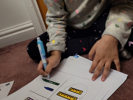 This Year 1 (Dolphins) pupil is working hard at home learning