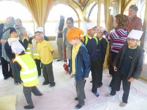 Year 3 on their trip to the Gurdwara. They went in the main prayer room and were offered tasty food