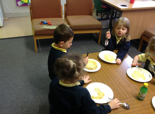 Year One has fun cooking their pancakes. Even more fun eating them.