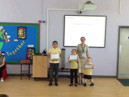 These pupils were recognised for their achievement during out sports day yesterday. Well done!
