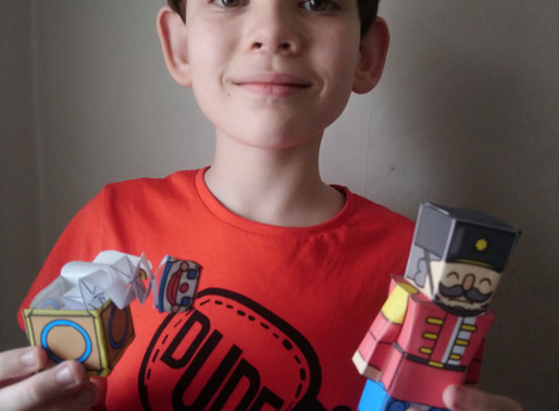 A year 6 pupil has been busy at home making model Victorian toys.