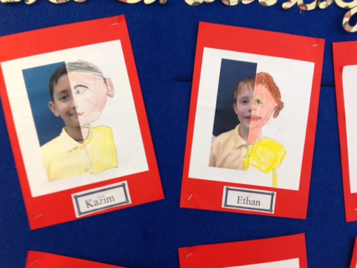 Year 5 have created these lovely pictures during their deaf studies sessions about identity.