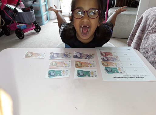 Some lovely 'Money' work! This pupil in Puffin class has been learning about money.