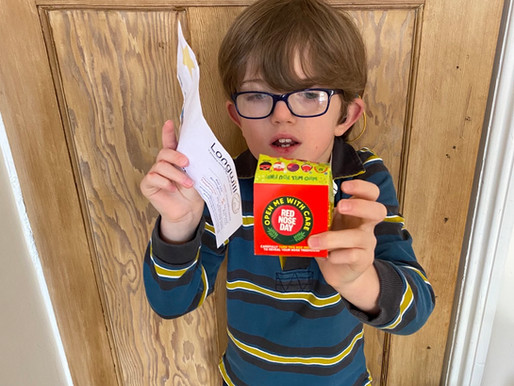 This pupil in Monkey Class (Y4) is supporting Red Nose Day!