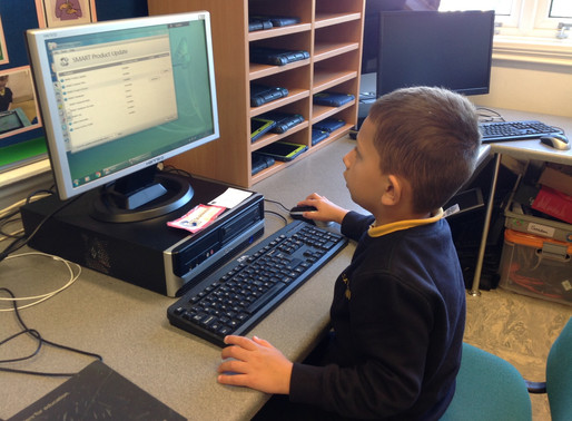 Y2 (Badgers) learnt are learning to log on and off the computers.