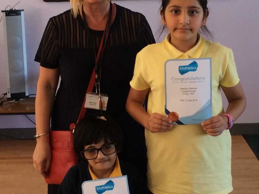 These two girls have been working hard at home using 'Mathletics' . Well done
