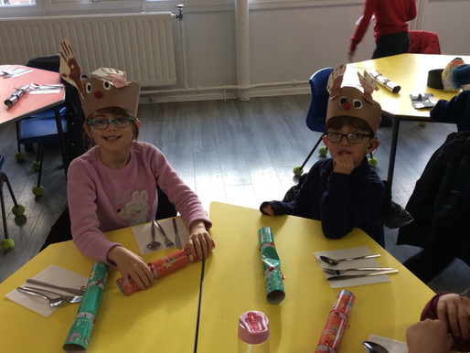 Monkeys loves their Christmas lunch and their reindeer party hats!!