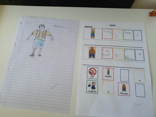 Some more lovely English work about the book 'Aladdin' completed by pupils in Puffin class.