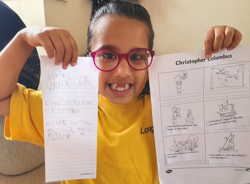 This pupil in Puffin class has done some lovely work about Christopher Columbus.