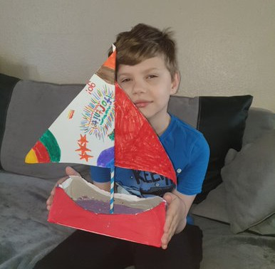 This boy has made a lovely boat for this weeks challenge. How lovely!