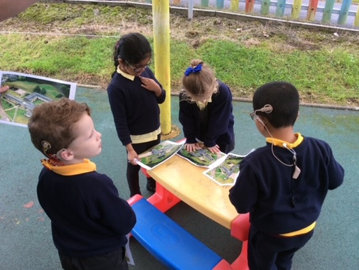 year 1 (Dolphins) have been using aerial photographs to learn about the school and its grounds.
