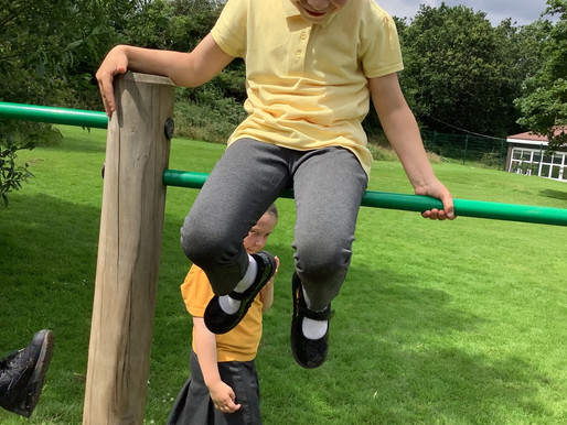 Foundation and Year One and Two children loved playing on the trim trail last week...