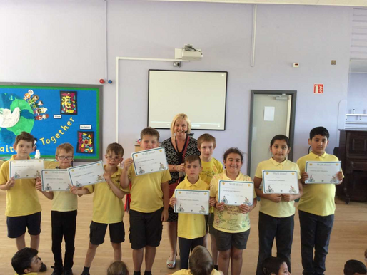 Following training, several pupils were awarded their Bikeability certificates during our end of ter