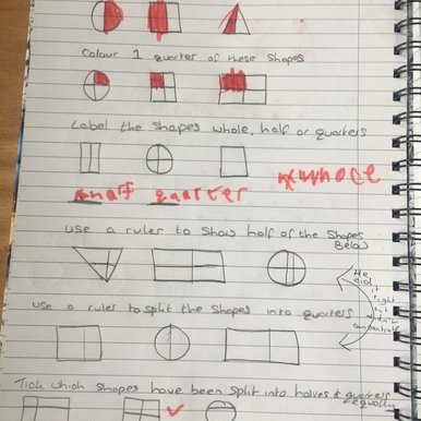 Fractions,is what this pupil in Puffin class has been working hard doing, this week. A great effort!