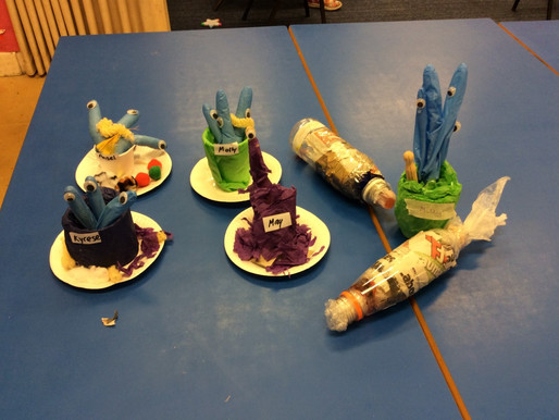 Pupils in Foundation have been making 'Aliens' this afternoon, as a follow up to the book &#